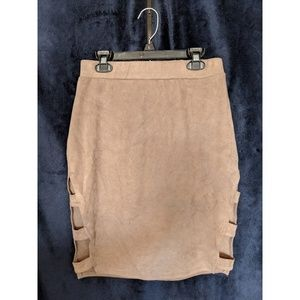 Brown / grey suede tight skirt